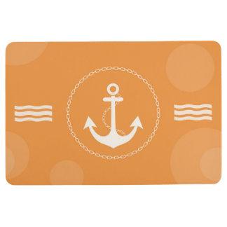 Anchor Nautical Modern Orange Floor Mat
