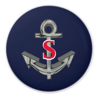 Anchor Nautical Monogram Navy Draw Pull Knob