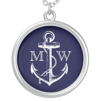 Anchor, Nautical Monogram Silver Plated Necklace