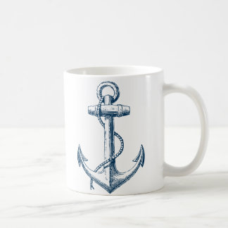 Anchor Nautical Mug Gift Navy Blue White