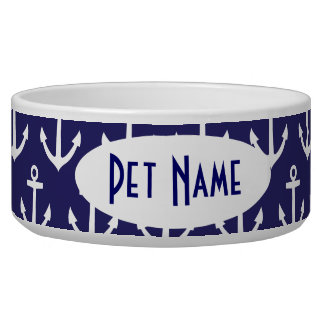 Anchor Nautical Navy Personalized Pet Bowl