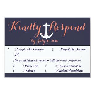 Anchor Nautical RSVP Response card Navy Coral 9 Cm X 13 Cm Invitation Card