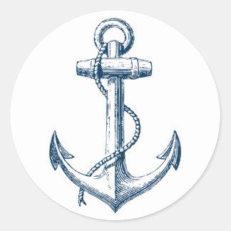 Anchor Nautical Sticker Decor Gift Navy Blue White