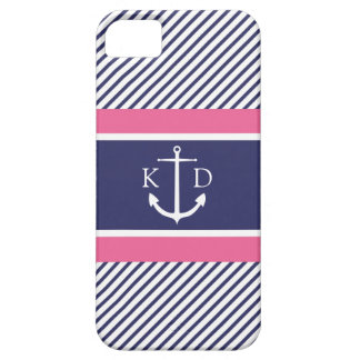 Anchor & Nautical Stripes & Monogram Navy &Pink Barely There iPhone 5 Case