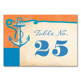 Anchor Nautical Wedding Table Number Cards
