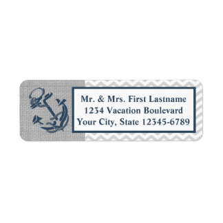 Anchor Navy Blue and Grey Zig Zag Return Address Label