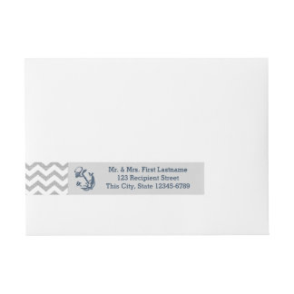 Anchor Navy Blue and Grey Zigzag Wraparound Address Label