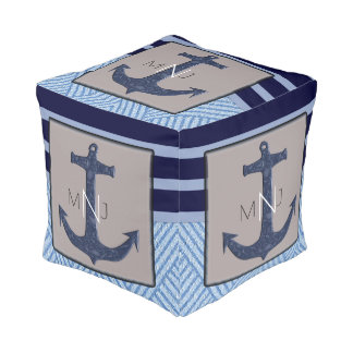 Anchor & Navy Blue Nautical Stripes Monogrammed Pouf