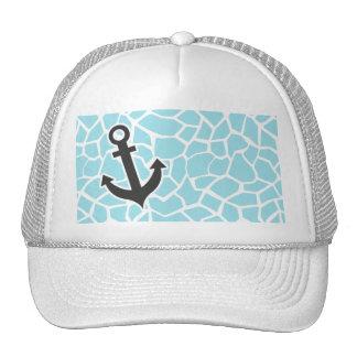 Anchor on Blizzard Blue Giraffe Animal Print Trucker Hat