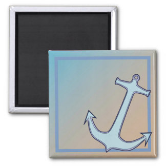 Anchor on Blue and Tan Square Magnet