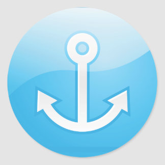 Anchor On Blue Background Stickers