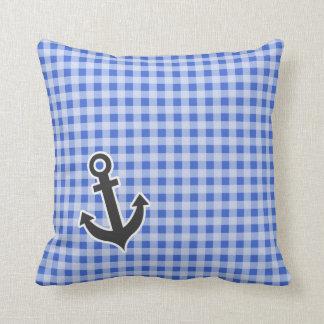 Anchor on Han Blue Gingham Throw Cushion