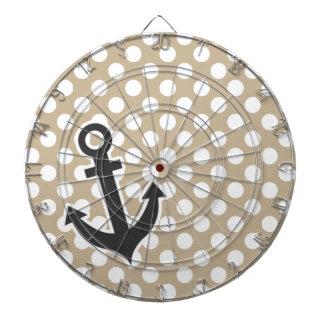Anchor on Khaki Polka Dots Dartboards