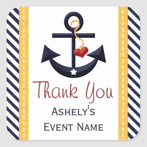 Anchor Party Favor Stickers Yellow