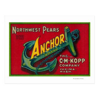 Anchor Pear Crate LabelYakima, WA Postcard