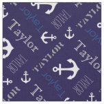 Anchor personalised name blue nautical text fabric