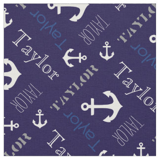 Anchor personalized name blue nautical text fabric