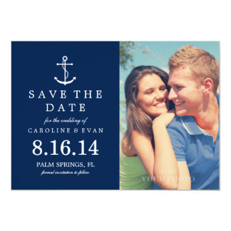 Anchor Photo Wedding Save the Date {navy blue} 13 Cm X 18 Cm Invitation Card
