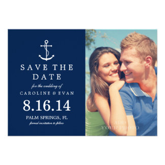 Anchor Photo Wedding Save the Date navy blue Card