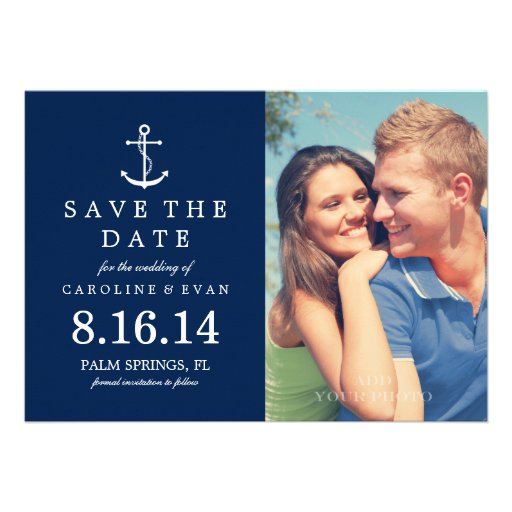 Anchor Photo Wedding Save the Date {navy blue} Card