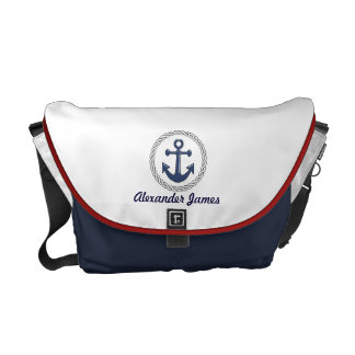 Anchor Red White and Blue Personalized Courier Bag