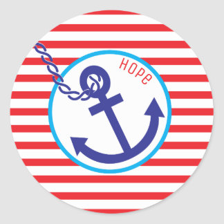 Anchor Rope of Hope Stripes Red White Blue Sticker