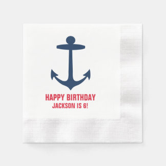 Anchor Silhouette Custom Happy Birthday Party Boy Paper Napkins