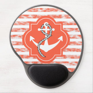 Anchor Silhouette With Nautical Coral Stripes Gel Mouse Pad