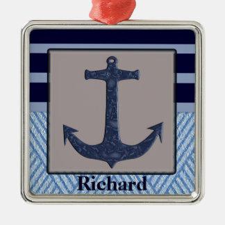 Anchor & Stripes Nautical Design Metal Ornament
