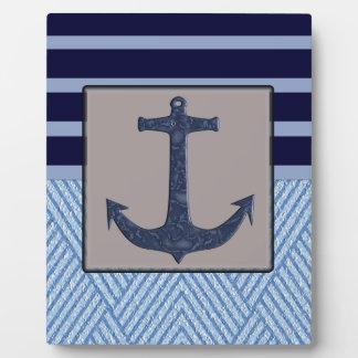 Anchor & Stripes Nautical Design Plaque