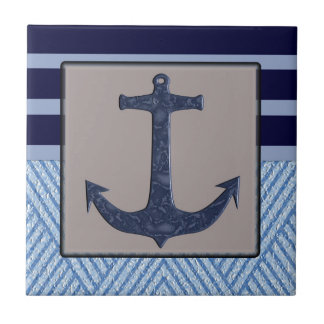 Anchor & Stripes Nautical Design Small Square Tile