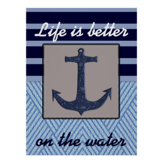 Anchor & Stripes Nautical Themed Poster