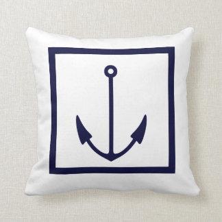 Anchor stripes WHITE on NAVY BLUE PILLOW
