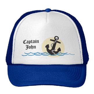 Anchor, Sun and Water Personalized Captain Cap