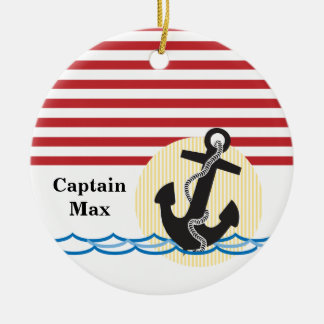 Anchor, Sun and Water Personalized Ceramic Ornament