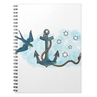 Anchor Swallow Southern Star Tattoo Notebook