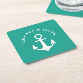 Anchor Teal Green Nautical Design Custom Name A24 Square Paper Coaster