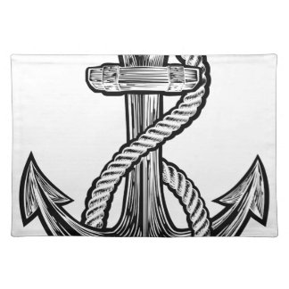 Anchor Vintage Style Tattoo Illustration Placemat
