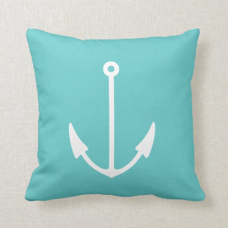 Anchor WHITE on teal blue pillow