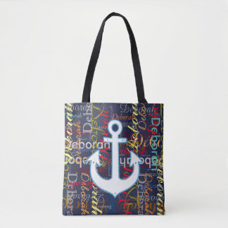anchor with a pattern of colorful names on blue tote bag