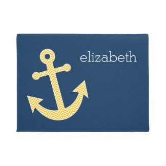 Anchor with Blue and Yellow Chevron Pattern Doormat