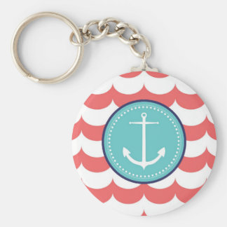 Anchor with Coral Waves Pattern Key Ring