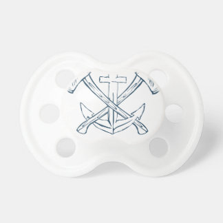 Anchor with crossed axes. Design elements Baby Pacifier
