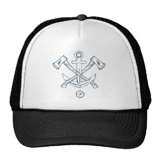Anchor with crossed axes. Design elements Cap