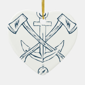 Anchor with crossed axes. Design elements Ceramic Heart Decoration