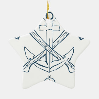 Anchor with crossed axes. Design elements Ceramic Star Decoration