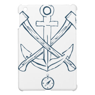 Anchor with crossed axes. Design elements Cover For The iPad Mini