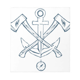 Anchor with crossed axes. Design elements Notepad