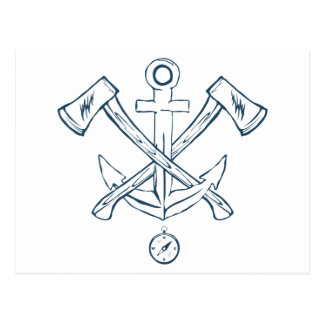 Anchor with crossed axes. Design elements Postcard