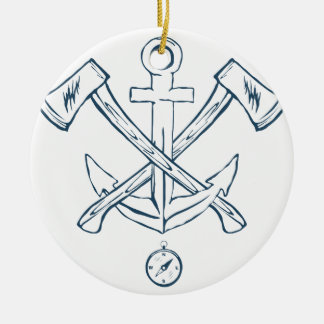 Anchor with crossed axes. Design elements Round Ceramic Decoration